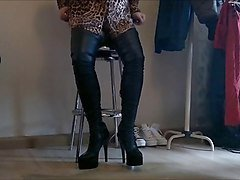 Boots, Crossdresser, Leather, Crossdressing cuckold, Xhamster.com